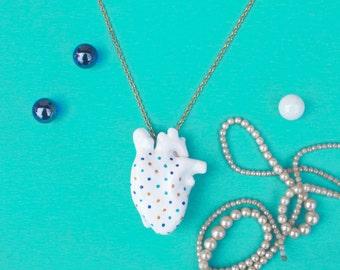 Human Heart Necklace Realistic Heart Jewelry Polka Dots Collar Corazon Odd Jewelry Heart Organ Anatomical Heart Anatomical Jewelry