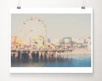 Santa Monica pier photograph, California photograph, ferris wheel photograph, Pacific ocean photograph, beach photography