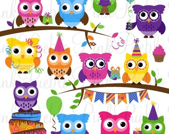 Cute Birthday Party Owl Clipart Clip Art, Happy Birthday Owl Party Decor Clipart Clip Art Vectors - Commercial and Personal