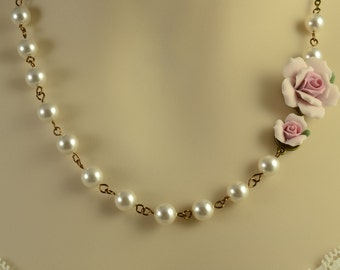 Pink Rose Necklace - Swarovski White Pearl Necklace - Victorian Jewelry - Bronze Wedding - Bridesmaid Gift Pearl - Mother of the Bride N1221
