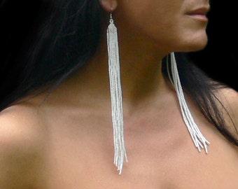 White Earrings. Extra Long Earrings. White Shoulder Duster Earrings. Very Long Fringe Earrings. Beadwork.