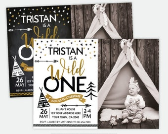 Wild One Birthday Invitation with Photo, Wild One First Birthday Party, Boys or Girls, Personalized DIGITAL Invitation, 2 Options