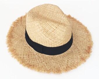 Summer straw hat , u nraveled fedora sun hat , beach hat , travel hat , straw hat , womens straw hat , fashionable straw hat ,  hats women