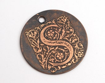 Handmade letter S charm, round flat etched copper initial focal point, 25mm