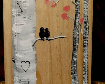 Love birds on birch tree pallet art, hand painted. Personalize heart with initials