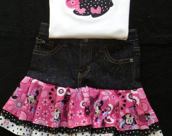 Minnie Top/Onesie and Ruffled Denim Skirt