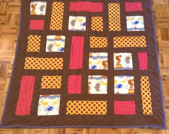 Day at the Circus baby quilt, baby gift, baby shower, handmade, baby boy