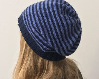 "Striped beanie Hat ""waterfront"" in shades of acrylic-vegan"