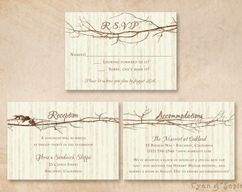 Printable Wedding Enclosure Cards - Tree and Branches - 3.5x5 - R.S.V.P. Response Reception Accommodations Lodging Other Cards