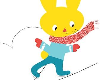 Rabbit Print - On ice - Nursery Wall Art, Cute Bunny, ice skating bunny art print, Bunny Nursery wall art, Nursery Print, Nursery Art,