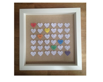 Civil Partnership Rainbow Heart Picture Gift