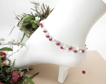 Ruby Freshwater Pearl Anklet, July Birthstone, Dark Pink Birthstone Anklet In Sterling Silver, Gemstone Anklet, 9-10.5 Inches, Ruby Jewelry