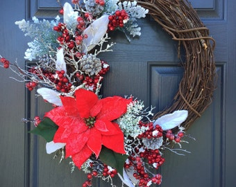 Poinsettia Wreath, Christmas Poinsettias, Holiday Wreaths, Red and White Wreaths, Christmas Decor, Door Wreaths, Poinsettia Wreaths