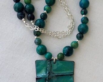 Foldformed Copper Enameled Turquoise Green Rectangular Necklace Pendant Handmade