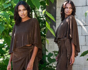 Ribbed Flowing Open Back Crop Top Chocolate Brown XS S M L XXL