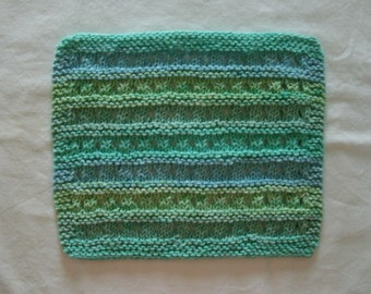 Hand Knit Cotton Dishcloth or Washcloth - measures approximately 81/2x91/2 inches