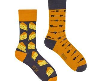 Mouse and cheese socks | men socks | colorful socks | cool socks | mismatched socks | womens socks | crazy socks | patterned socks