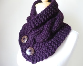 """Knit Neck Warmer, Cable Knit Scarf,  Chunky Warm Winter Scarf in Eggplant 6"""" x 25"""" Coconut Shell Buttons Ready to Ship - Direct Checkout"""
