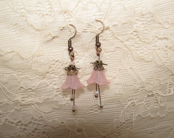 Forest flower earrings soft pink and copper