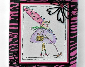 Card with Humor, Funny Card, Any Occasion Card, TGIF Greeting Card, Pink Zebra Stripes, Fabulous Card, All Occasion Card, Snail Mail Card