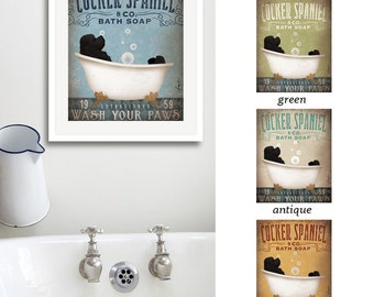 Cocker Spaniel dog bath soap Company vintage style artwork by Stephen Fowler UNFRAMED Giclee Signed Print