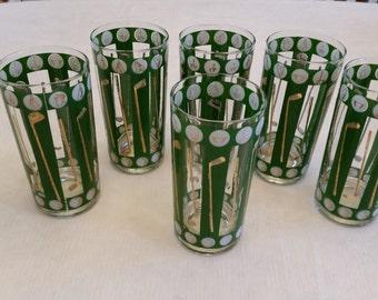 6 vintage golf club and balls drinking glasses / tumblers 12 oz - green white gold trim - barware bar golfing 19 hole pga lpga sports open
