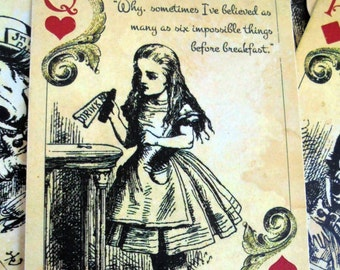 12 Alice in Wonderland Themed Playing Cards - Table Decorations,Tags,Toppers