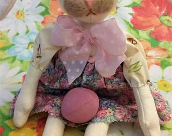 Little Betty Bunny and Her Pink Egg ~ One of a Kind ~ Primitive ~ Folk Art ~ Collectible Easter Bunny Doll