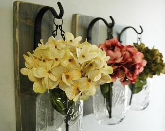 Individual Hanging Mason Jar, Wall Decor, Farmhouse style decor, Fixer Upper style decor, Farmhouse kitchen decor, rustic,