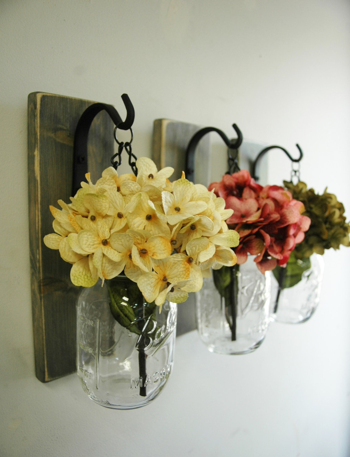 Individual Hanging Mason Jar Wall Decor Farmhouse style