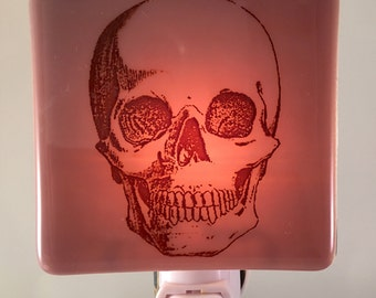 Skull Night Light Fused Glass
