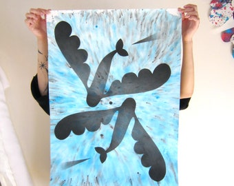 Airbrushed flying fishes on abstract background, original painting