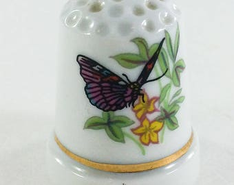 Porcelain Thimble with Pink Butterfly Yellow Flowers and Gold Trim