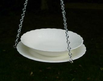 Bowl and Plate Bird Feeder, White Silk
