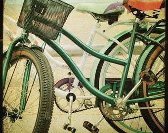 "Vintage Bicycle Photography Retro Beach Bikes Photograph Aqua Green Print ""Beach Riding"" TTV 8x8"