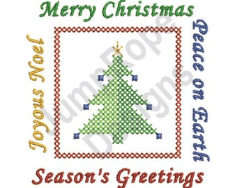 Joyous Merry Peace Greetings - Machine Embroidery Design