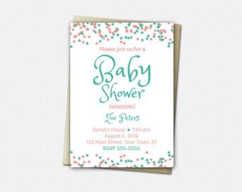 A Star is Born Invitations - Baby Shower Invitation - Printed or Printable   stars invites cute girl boy