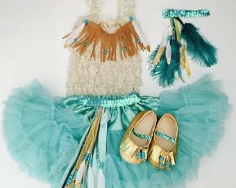 Pocahontas inspired baby girl & little girl Halloween costume