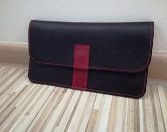 Black & red leather Clutch Purse, Black Evening Clutch, leather Handbag, Clutch, Minimalist Bag, Bridesmaid Wedding Gift, Foldover Clutch
