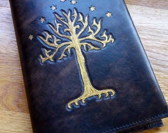 Hand Carved Leather Diary / Journal Cover - A5 -