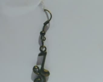 Vintage Style Bronze Antique Musical Notes Earrings.