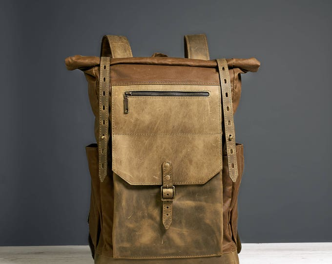 Laptop backpack. Waxed canvas and leather bag for work and travel.