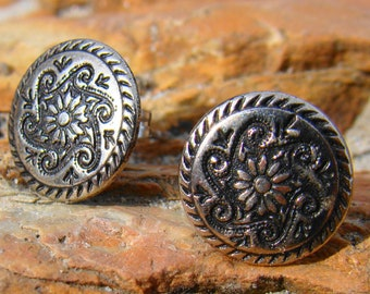 Vintage Earrings Button Earrings Flower Earrings Floral Earrings Stud Earrings Stainless Steel