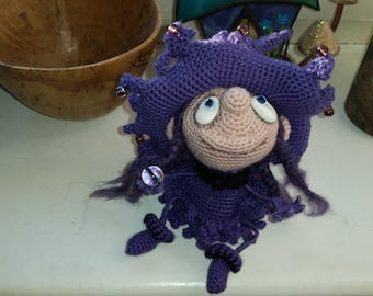 Handmade Crochet Purple Witch Art Doll