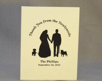 Wedding Thank You Cards with Dog - Dachshund, Labrador, Pug, Greyhound, or choose your breed