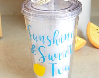 Sunshine and Sweet Tea Tumbler, Beach Tumbler, Gift For Her, Summer Tumbler, Southern Preppy Tumbler, Beach Cup