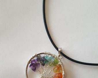 Tree of Life Chakra Pendant with Rubber Necklace / Gemstone / Beads / Wire Wrap / Raindow
