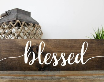 "Blessed Painted Wood Sign| Rustic Wood Sign| Inspirational Decor| Inspirational Quote Gift| Motivational Decor| Gallery Wall| 18"" x 5.5"""