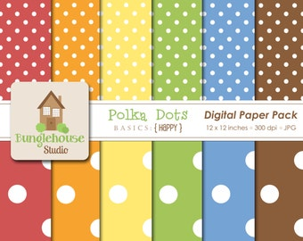 Polka Dot Scrapbook Paper Instant Download Digital Paper Pack Happy Style