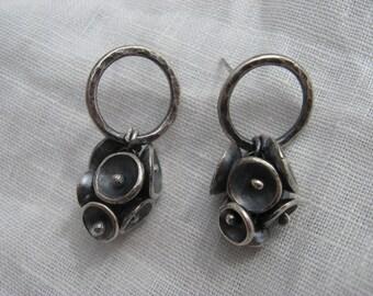 Saucer cluster on hoop earring (E12)